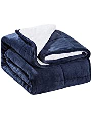 SIVIO Sherpa Fleece Weighted Blanket for Adult, 15 lbs Heavy Blanket with Soft Plush Flannel and Lamb Cashmere and Premium Ceramic Beads, Reversible Full-Size Super Soft Extra Warm Cozy Fluffy Blanket, 60 x 80 inches, Navy Blue