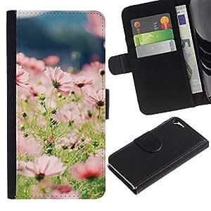 For Apple iPhone 5 / iPhone 5S,S-type® Summer Field Flowers Floral Green Sun - Dibujo PU billetera de cuero Funda Case Caso de la piel de la bolsa protectora
