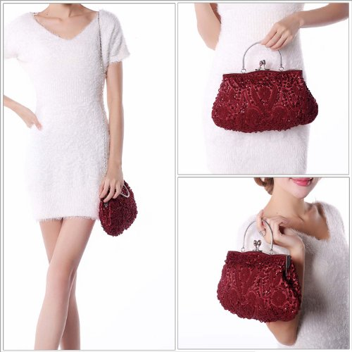 Sequin Design Red BMC Metal Evening Lock Beaded Interior Frame Kissing Clutch Satin 5xxPq4wrpE