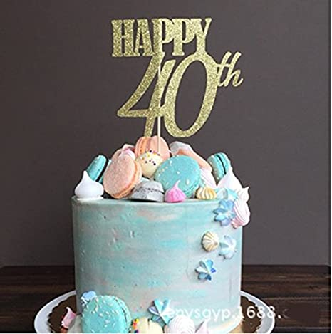 Amazon.com: Astra Gourmet oro con purpurina HAPPY 40th tarta ...