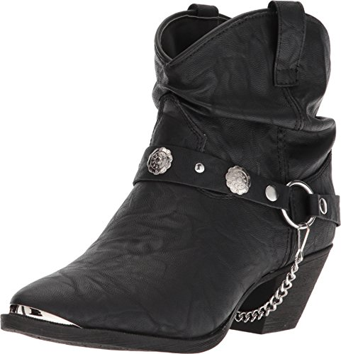 Dingo Women's Leather Concho Strap Slouch Booties Pointed Toe Black 8 M