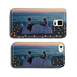 lovers couple share a romantic dinner on sea beach cell phone cover case Samsung S5