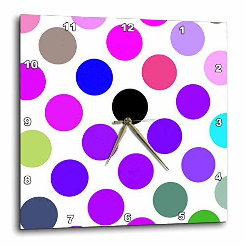 Brown Dot Clock (3dRose dpp_17411_1 Brown and Purple Colorful Dots-Wall Clock, 10 by)