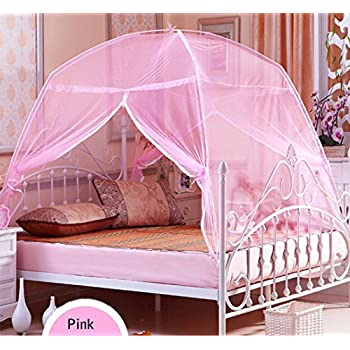 CdyBox Foldable Baby Adult Double Zipper Door Sleeping Yurt Mosquito Net Bed Canopy with Stand (M Pink) : next bed tent - memphite.com