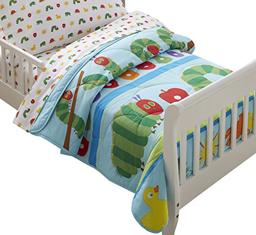 Wildkin Lightweight Toddler Comforter, 100% Cotton Toddler Comforter with Soft Flannel Lining and Embroidered Details, Coordinates with Other Room Décor – The Very Hungry Caterpillar