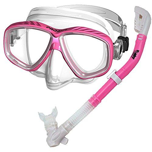 PROMATE Snorkeling Scuba Dive DRY Snorkel PURGE Mask Gear Set, (Water Dive Gear)