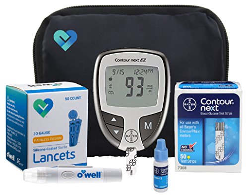 Bayer Contour NEXT Diabetes Testing Kit – Bayer Contour EZ Meter, 50 Contour NEXT Blood Glucose Test Strips, 50 OWell Lancets 30g, Lancing Device, Control Solution, Manual, Log Book & Carry Case