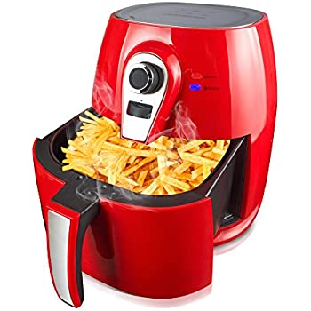 1400W Air fryer, Healthy Smokeless Low-Fat Non-stick Multi-Cooker Oilless Cooker, 4L 3.8QT Capacity with Timer and Temperature Control and Detachable Basket Handles (Red)