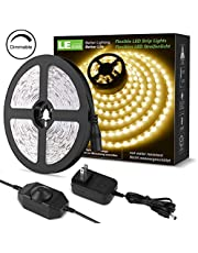 LE LED Strip Lights, 16.4ft 12V Dimmable Strip Lights, 6000K Daylight White, 300 Units 2835SMD LED Tape Light for Home, Kitchen, Bedroom, Car and More, Non Waterproof, Power Adapter Included