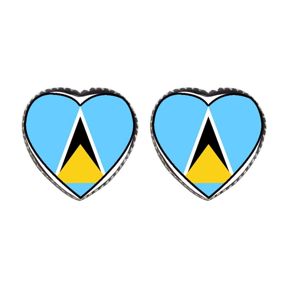 GiftJewelryShop Bronze Retro Style Saint lucia flag Photo Stud Heart Earrings #12