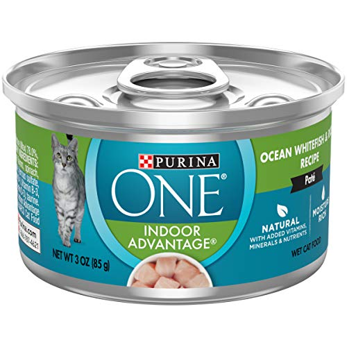 - Purina ONE Indoor, Natural, High Protein Pate Wet Cat Food; Indoor Advantage Ocean Whitefish & Rice - (24) 3 oz. Pull-Top Cans
