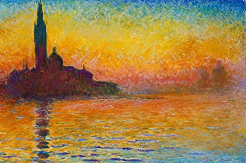 Claude Monet Sunset Dusk Twilight in Venice Painting Art Mural Giant Poster 36x54 inch Claude Monet Sunset In Venice