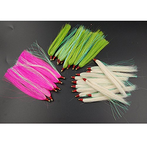 Shaddock Fishing Pack of 10 Premium Slide Bucktail Tube Teasers Sea Striker Bucktail Teaser Fishing Lures (Pink) (Fishing Teaser)