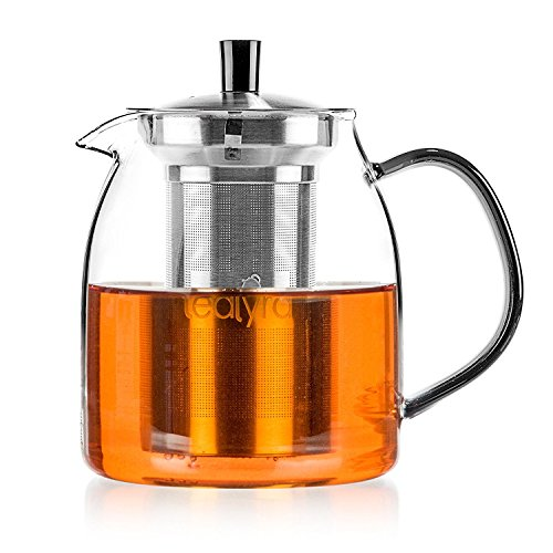 Tealyra - 30.5-ounce VEGA TEAPOT - Stove-Top Safe - Large Borosilicate Glass Teapot - Kettle - w/Removable Stainless-Steel Infuser - Best For Loose Leaf and Blooming Tea - 900ml - Makes 3-4 cups