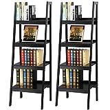 Topeakmart 4 Shelf Floor Standing Leaning/Corner Ladder Shelf Black Wood Bookcase/Bookshelf with Metal Legs/Frame