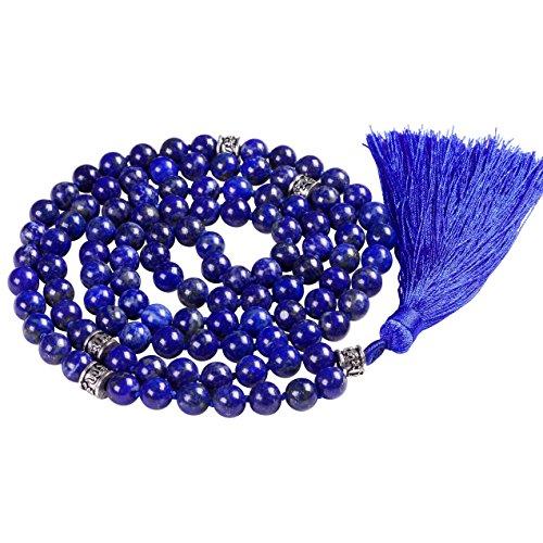 Mala Beads Necklace, Mala Bracelet, Buddhist Prayer Beads Necklace, Tassel Necklace (Lapis Lazuli)