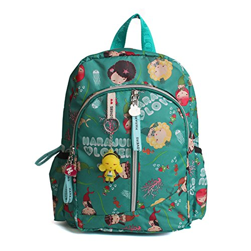 Dorapocket Children Harajuku Doll Cartoon Backpack Student Casual Travel Bag,Green S