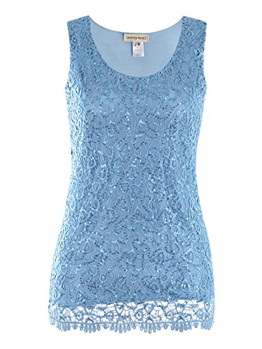 - Anna-Kaci Womens Casual Formal Embroidered Lace Sequin Sleeveless Shirt Tank Top, Light Blue, Medium