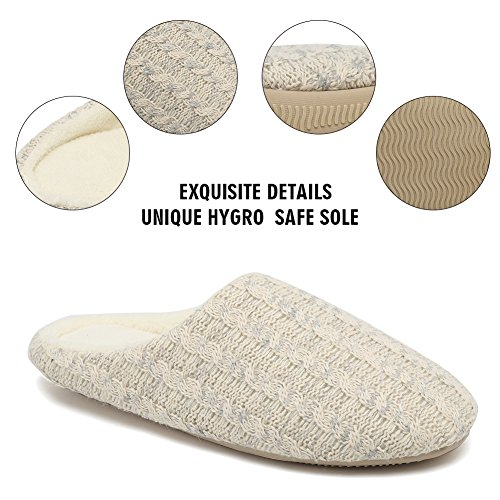 Slippers Women's Beige and Cotton Indoor Knitted Slip CIOR Cashmere House Breathable Men's Winter Anti Shoes Warm IdZHqw