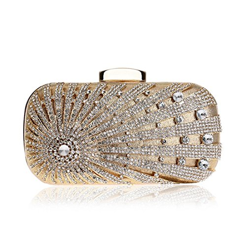 Evening Diamond Shoulder Banquet Bag Gold Purse Handbag Crossbody Bag Clutch Color Ladies Dress Black KERVINFENDRIYUN Y58Exw