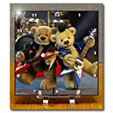 3dRose dc_12640_1 Dinky Bears Guitar Duet Desk Clock, 6 by 6-Inch