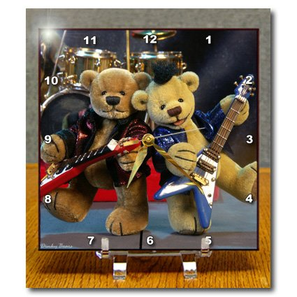 3dRose dc_12640_1 Dinky Bears Guitar Duet Desk Clock, 6 by 6-Inch