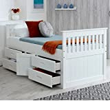Happy Beds Captains Wooden White Pine Storage Bed Drawers Cupboard Bedroom Furniture Frame 3' Single 90 x 190 cm