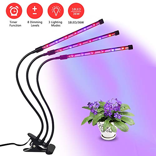 Plant Grow Light, Lamp for Plants, Three Head Gooseneck Timing 36W, 18 LED Bulbs Timing Plant Grow Lamp with Red and Blue Spectrum, 8 Dimmable Levels, 4/8/12 H Timer