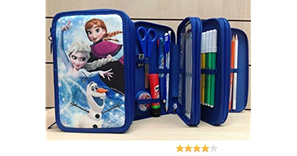 Accademia Estuche de pinturas y rotuladores Frozen, con 3 cremalleras, Disney, gran calidad, coll. 2017/2018.: Amazon.es: Oficina y papelería