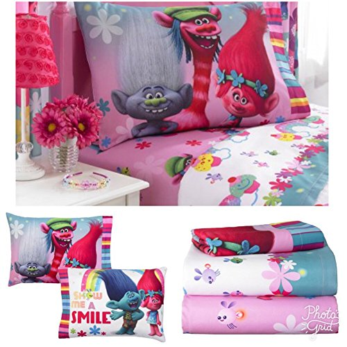 Dreamworks Trolls Girls Twin Bedding Sheet Set (Twin Bed Setting For Girls)