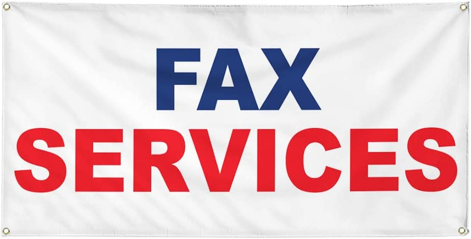 Vinyl Banner Multiple Sizes Fax Services Blue Red Profession Outdoor Weatherproof Industrial Yard Signs 8 Grommets 48x96Inches