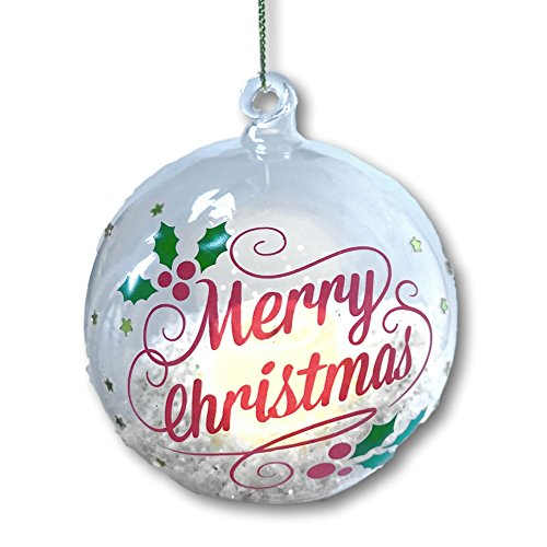 (Merry Christmas Ornament - Glass Ball Ornament with LED Light Up Candle and Gold Glittery Snow Inside - Happy Holidays)