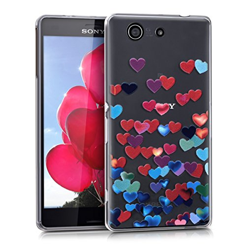 kwmobile Crystal TPU Silicone Case for Sony Xperia Z3 Compact in Design Confetti Hearts red blue (Raining Hearts Rhinestones)