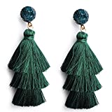 Me&Hz Deep Green Tassel Fringe Earrings Long Dangle Drop Tiered Thread Tassel Ear Drop Earrings for Women Girl
