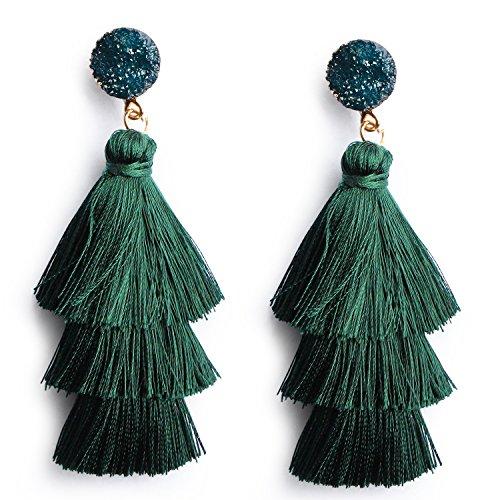 Deep Green Tassel Fringe Earrings Long Dangle Drop Earrings for Women Girls Statement Tiered Thread Tassel Ear Drop Jewelry