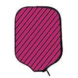 YOLIYANA Hot Pink Durable Racket Cover,Diagonal Lines Black Stripes on Pink Backdrop Classical Modern Tile Pattern for Sandbeach,One Size