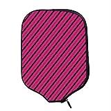 YOLIYANA Hot Pink Durable Racket Cover,Diagonal Lines Black Stripes on Pink Backdrop Classical Modern Tile Pattern for Sandbeach,One Size