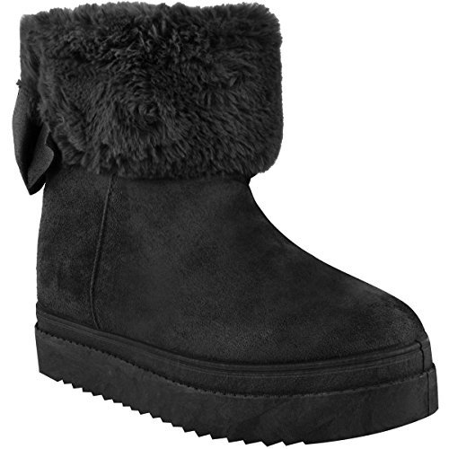 Lining Bow Ladies Low Size Winter Black Fur Faux Womens Ankle Boots Flat Shoes Suede Faux Heel nIqUxUYz