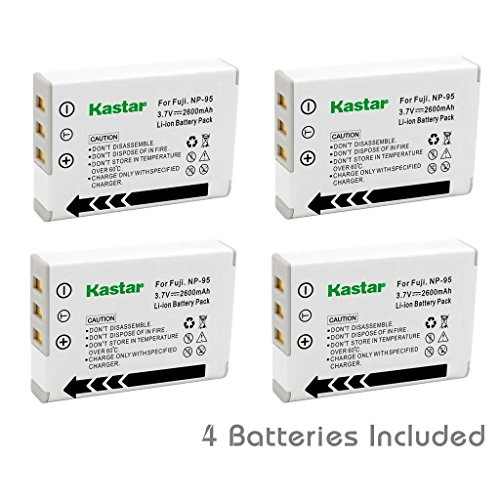 Kastar FNP95 Battery (4-Pack) for Fujifilm NP-95 & Finepix F30, Finepix F31FD, Finepix Real 3D W1, Finepix X30, Finepix X100, Finepix X100T, Finepix X100LE, Finepix X100S, Finepix X-S1 and Ricoh DB-90