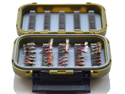 Double Side Waterproof Slit Foam Fly Box + Prospecting Nymphs Fly Fishing Trout Prospecting Fly, Classic Small Attractors Dry Fly Collection Pack of 30 Flies Lure (#14 - #18)
