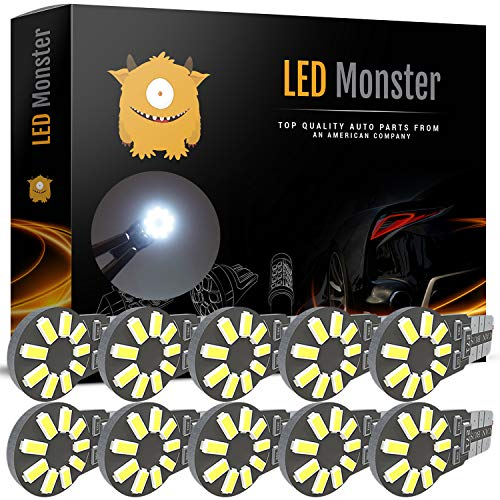 LED Monster 10pcs T10 Wedge Best Value Super Bright High Power 3014 15-SMD 194 168 2825 W5W White LED Bulb Lamp for Car Truck Interior Dome Map Door Courtesy License Plate Lights ()
