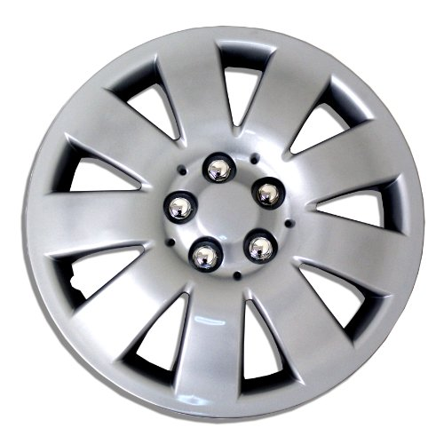 TuningPros WSC-721S15 Hubcaps Wheel Skin Cover 15-Inches Silver Set of 4 (Toyota Yaris 2009 Hubcap compare prices)