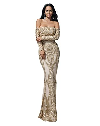 cd228dc2df2 Miss ord Sexy Bra Long Sleeve Retro Party Dress Sequin Maxi Dress at Amazon  Women s Clothing store
