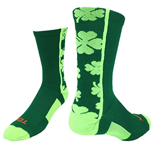 TCK Sports Lucky Clover Crew Socks (Kelly Green/Neon Green, Small)