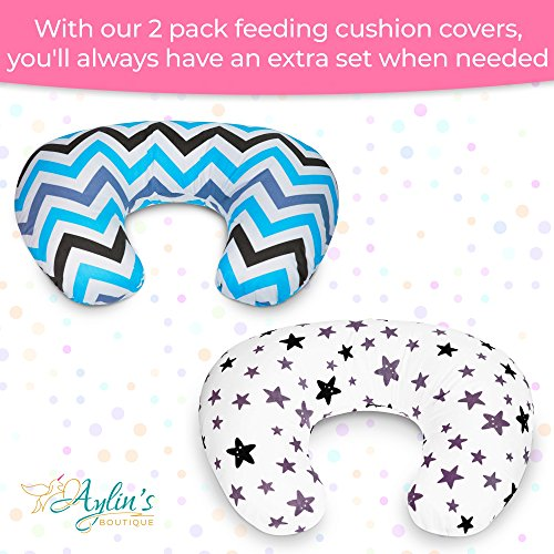2 Pack Nursing Pillow Cover   U-Shaped Infant Nursing Pillow Covers   Newborn Feeding Cushion Cover   Perfect for Baby Shower Gift (Purple) by Aylin's Boutique (Image #1)