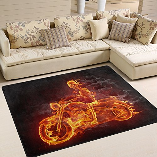 ALAZA Fire Skeleton Riding Motorcycle Area Rug Rugs for Living Room Bedroom 5'3 x 4'