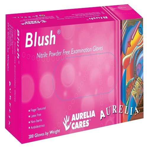Aurelia SUPL78886 Blush, Nitrile Gloves, Size: Box of 200, 9.44' Height, 2.75' Wide, 4.72' Length, Nitrile, Small, Pink (Pack of 200)