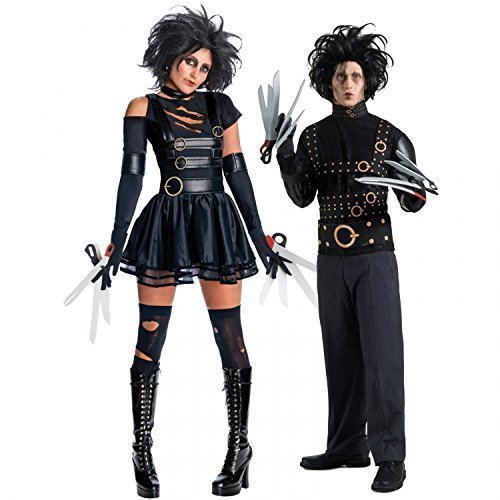 Couples Fancy Dress Mr & Mrs Edward Scissorhands Halloween Party Costumes Outfits (Ladies UK 16-18 Mens STD)