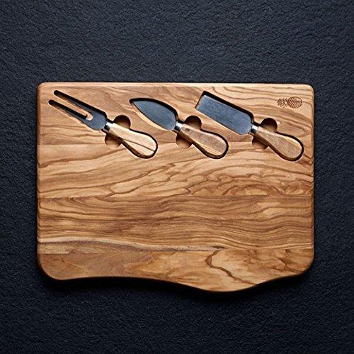 olive wood cheese knife set - 8