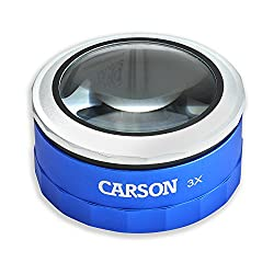 Carson Magnitouch 3x Touch Activated Led Lighted Stand Loupe Magnifier With Focusable Glass Lens For Reading, Low Vision, Hobby, Crafts, Stamps, Coins, Electronics & Inspection (Mt-33)